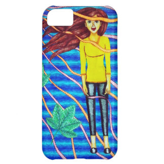 Girl Floating In Psychedelic Sky iPhone 5C Covers