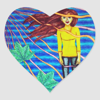 Girl Floating In Psychedelic Sky Heart Sticker