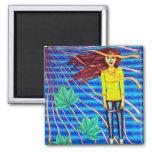 Girl Floating In Psychedelic Sky Refrigerator Magnet