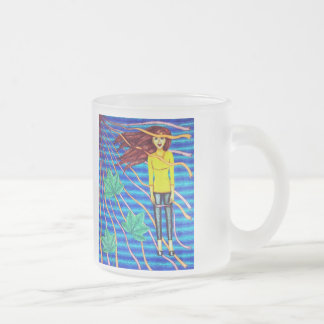 Girl Floating In Psychedelic Sky Mugs