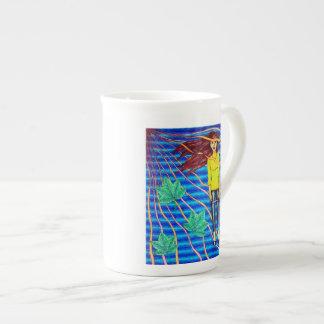 Girl Floating In Psychedelic Sky Porcelain Mug