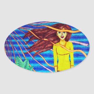 Girl Floating In Psychedelic Sky Oval Sticker