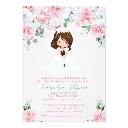 Girl Floral First Communion Invitation