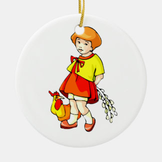 girl flowers behind back chicken graphic Double-Sided ceramic round christmas ornament