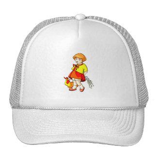 girl flowers behind back chicken graphic trucker hat