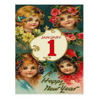 Girl Flowers Jan 1 New Year Postcard