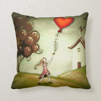 Girl Flying a Heart-Shaped Kite Pillow