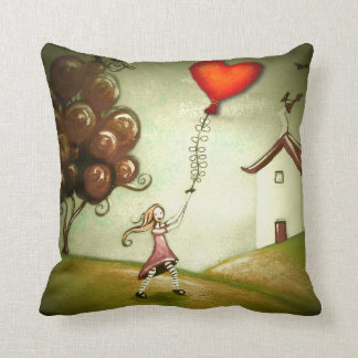 Girl Flying a Heart-Shaped Kite Throw Pillow
