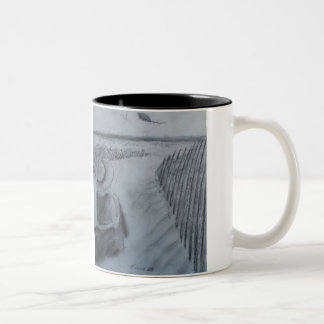 Girl Flying A Kite Two-Tone Coffee Mug
