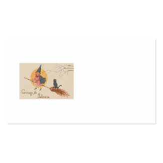 Girl Flying Witch Black Cat Full Moon Business Card