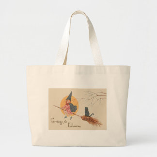 Girl Flying Witch Black Cat Full Moon Jumbo Tote Bag