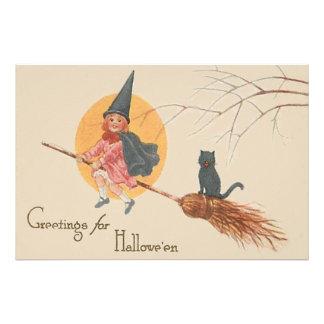 Girl Flying Witch Black Cat Full Moon Photo Print