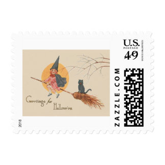 Girl Flying Witch Black Cat Full Moon Postage