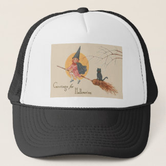 Girl Flying Witch Black Cat Full Moon Trucker Hat