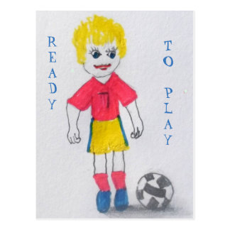 Girl Footballer Postcard