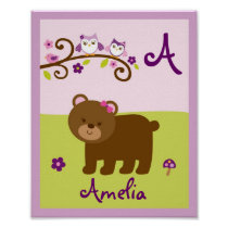 Girl Forest Animal Nursery Wall Print