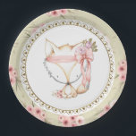 """Girl Fox Baby Shower Paper Plates<br><div class=""""desc"""">Fox baby shower paper plates with adorable baby girl fox on a beautiful pink and green floral background. These cute girl fox baby shower paper plates are easily customized with text.</div>"""