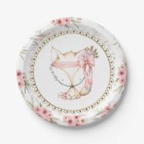 Girl Fox Baby Shower Paper Plates