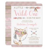 Girl Fox Wild One Baby Shower Invitations