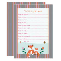 Girl Fox Wishes for Baby Card