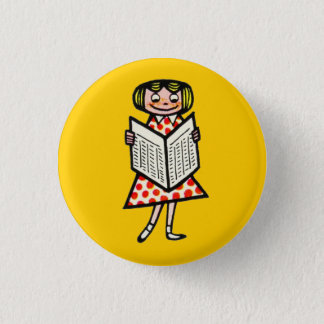 Girl French Vintage Reading Newspaper Kid 1950s Pinback Button