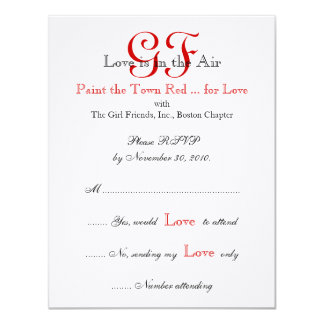 Girl Friends Night Out RSVP Cards Red