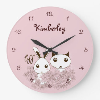 Girl Friendship Cute Animal Kids Name Pink Large Clock