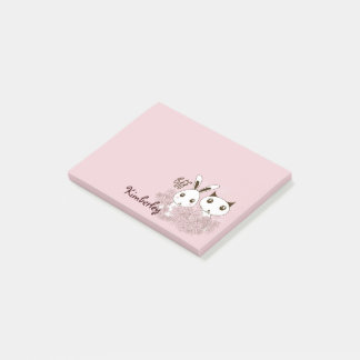 Girl Friendship Cute Animal Kids Name Pink Post-it Notes