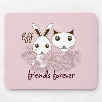 Girl Friendship Cute Animal Personalized Pink Mouse Pad