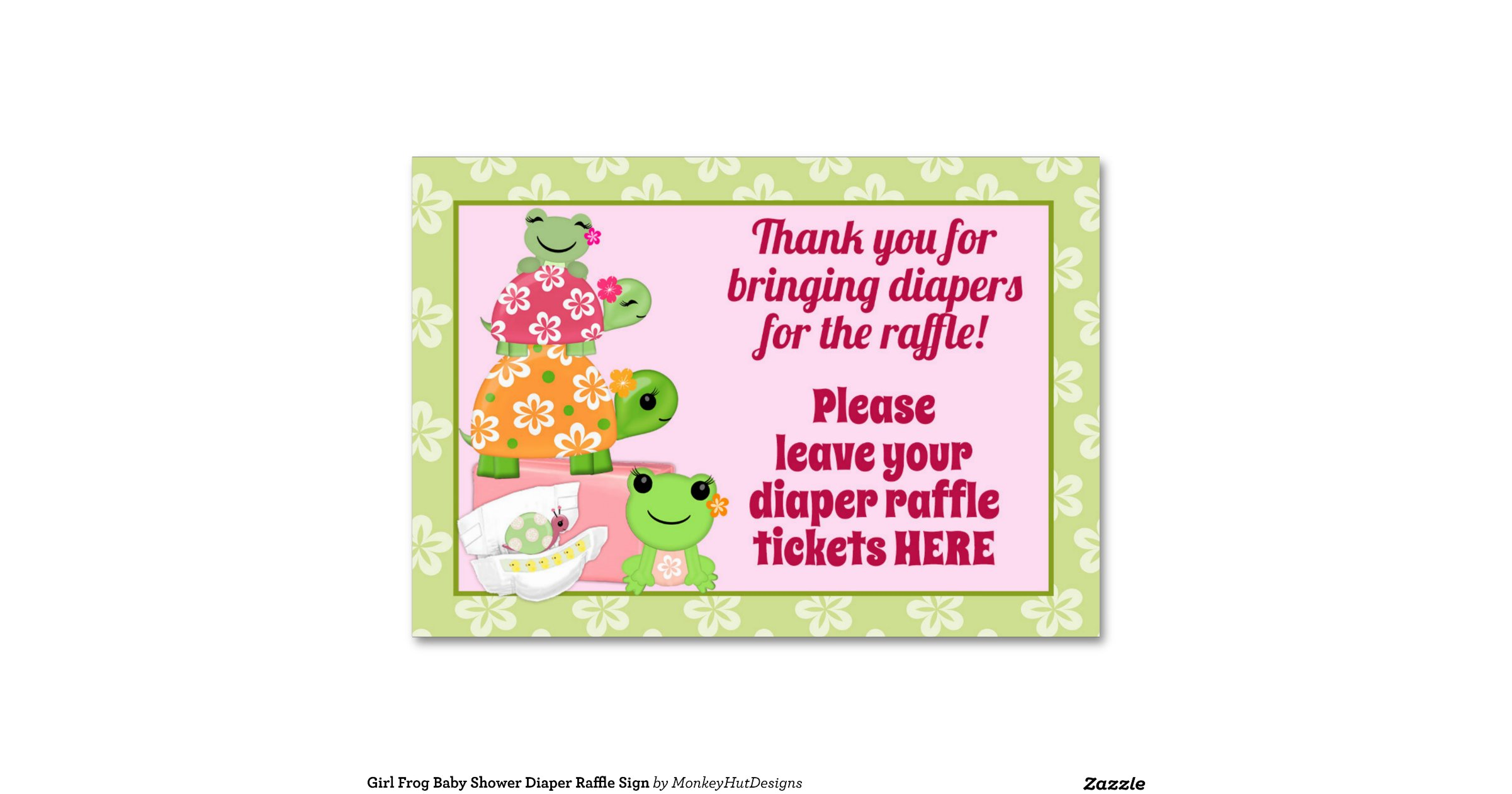 girl frog baby shower diaper raffle sign table cards zazzle