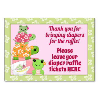 girl frog baby shower diaper raffle sign table cards