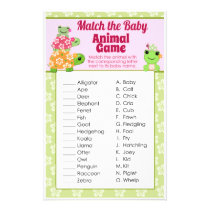Girl Frog Baby Shower Game Animal Match Sheet