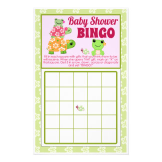Girl Frog Baby Shower Game BINGO Sheet