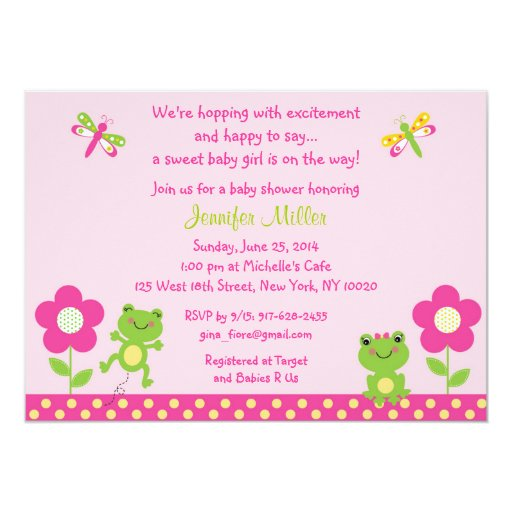 Girl Frog Baby Shower Invitations
