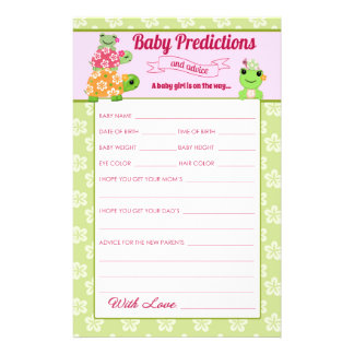 Girl Frog Baby Shower Predictions Activity Sheet