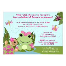 Girl FROG birthday invitation pink pond turtle