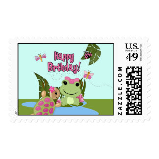 Girl FROG Birthday Invitation Postage#1 HFG Postage