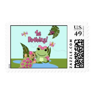 Girl FROG Birthday Invitation Postage 1st BDay HFG