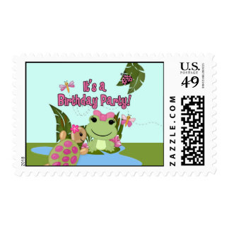 Girl FROG Birthday Invitation Postage#2 HFG Postage
