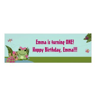 Girl FROG Birthday Party Banner HFG Poster