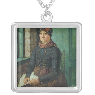 Girl from Fano, 1834 Square Pendant Necklace