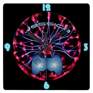 GIRL GAMER Plasma Ball Custom NEON Clock