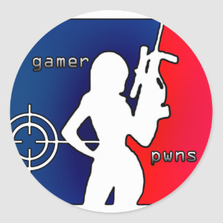 Girl Gamer Pwns You! Classic Round Sticker