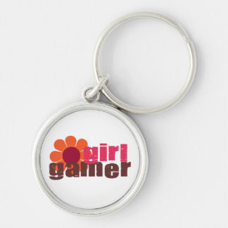 Girl Gamer Silver-Colored Round Keychain