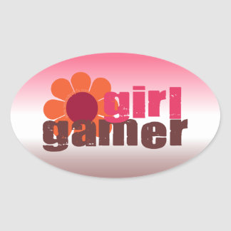 Girl Gamer Oval Stickers