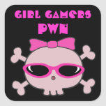 Girl Gamers pwn Skull With Sunglasses Square Stickers