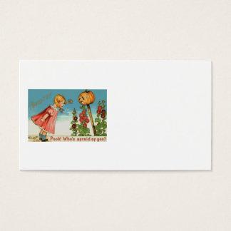 Girl Garden Jack O Lantern Pumpkin Business Card