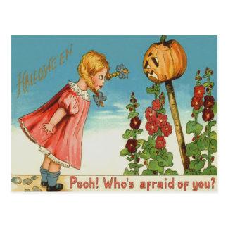 Girl Garden Jack O Lantern Pumpkin Postcard
