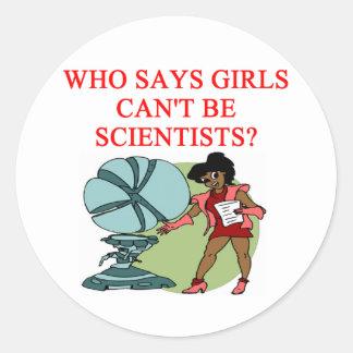 girl geek scientist classic round sticker