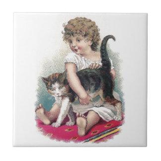 Girl Gets Grip on Kitty Ceramic Tile